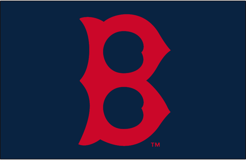 Boston Red Sox Logo Cap Logo (1936-1945) - Red B on navy blue, worn on the Boston Red Sox home and road caps from 1936 through 1945 SportsLogos.Net