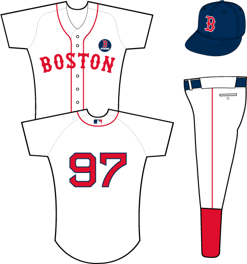 Boston Red Sox Uniform Special Event Uniform (2013) - White uniform with red piping, BOSTON arched across in red letters with no trim. B STRONG patch on left breast. Standard Red Sox cap and pants worn with the jersey. SportsLogos.Net