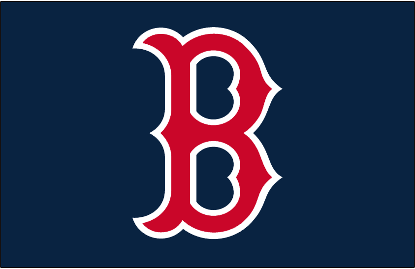 Boston Red Sox Logo Cap Logo (1979-1996) - Red B with white outline on navy blue, worn on the Boston Red Sox home and road caps from 1966 through 1974, and again from 1979 through 1996 SportsLogos.Net