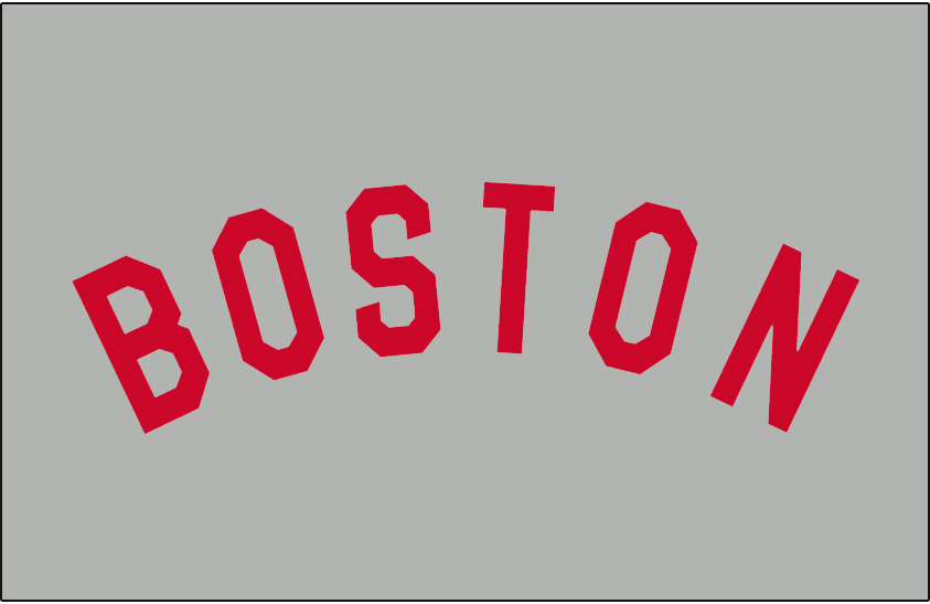 Boston Red Sox Logo Jersey Logo (1935) - BOSTON in red arched on grey, worn on the Boston Red Sox road uniforms during the 1935 season only SportsLogos.Net