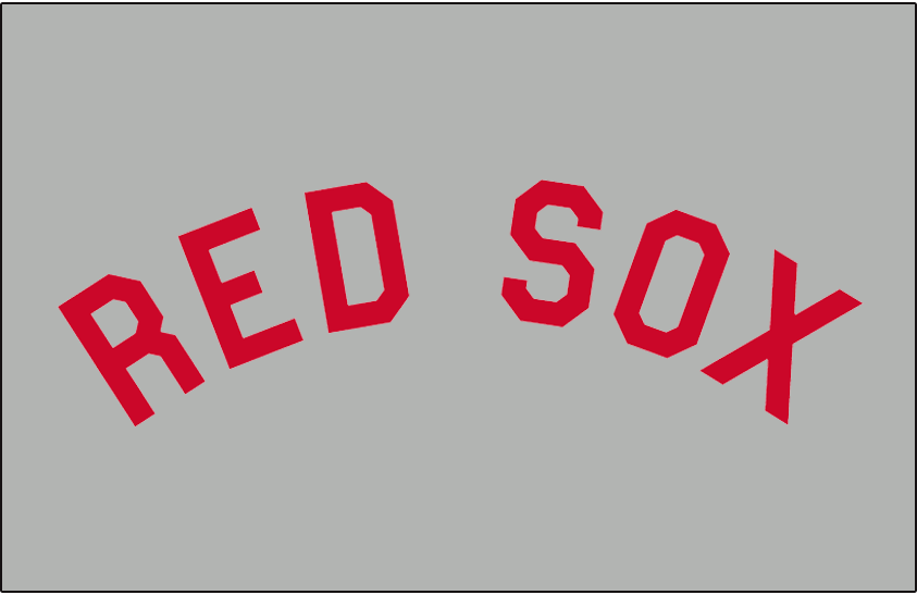 Boston Red Sox Logo Jersey Logo (1919-1920) - Red Sox in red, arched in block font. Worn on Boston Red Sox road grey jerseys from 1912 to 1915 and again from 1919 to 1920 SportsLogos.Net