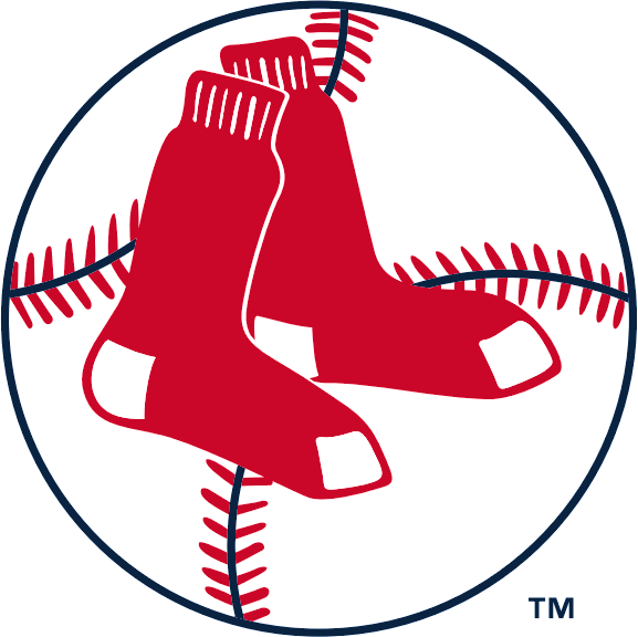 Boston Red Sox Logo Primary Logo (1961-1969) - Two hanging red socks inside a baseball with red stitching and navy blue seams SportsLogos.Net