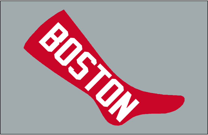 Boston Red Sox Logo Jersey Logo (1908) - A large red sock with BOSTON inside in white, worn on the Boston Red Sox road grey uniforms in 1908 SportsLogos.Net