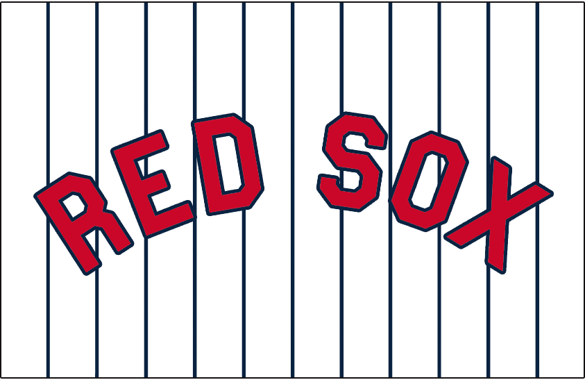 Boston Red Sox Logo Jersey Logo (1931) - RED SOX in red with a blue outline on white with blue pinstripes, worn on the Boston Red Sox home uniforms during the 1931 season only SportsLogos.Net