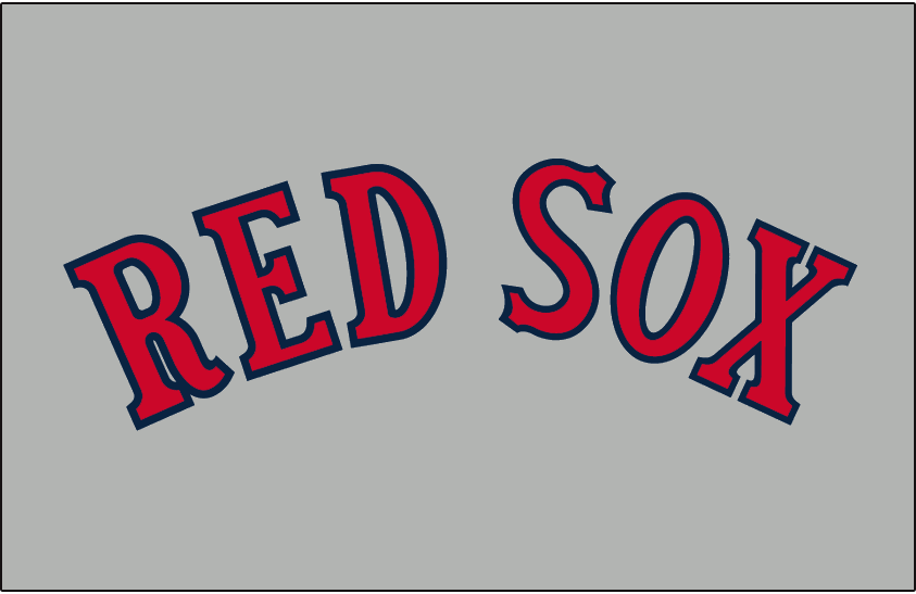 Boston Red Sox Logo Jersey Logo (1933) - RED SOX in red with blue trim arched on grey, worn on the Boston Red Sox road uniforms during the 1933 season only SportsLogos.Net