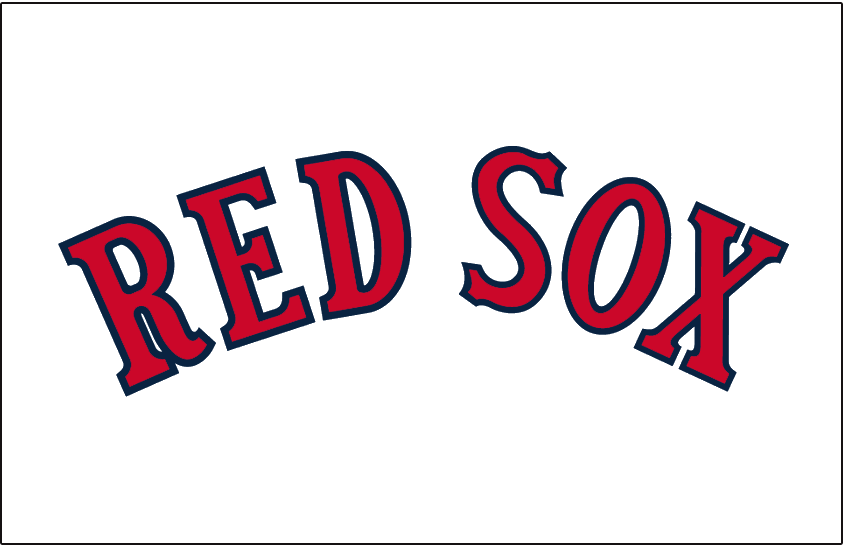 Boston Red Sox Logo Jersey Logo (1933-1934) - RED SOX in red with blue trim arched on white, worn on the Boston Red Sox home uniforms from 1933 through 1934 SportsLogos.Net