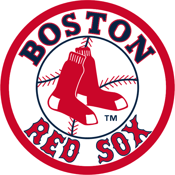 Boston Red Sox Logo Primary Logo (1976-2008) - A pair of red socks on a baseball in a circle with team name SportsLogos.Net