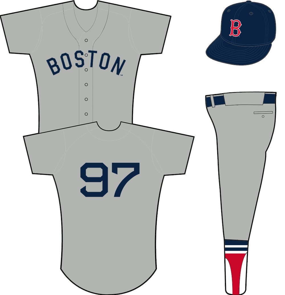 Boston Red Sox Uniform Road Uniform (1954-1965) - BOSTON arched across a button-up grey jersey. Navy blue number on back, no player name. All blue cap with red B logo on front SportsLogos.Net