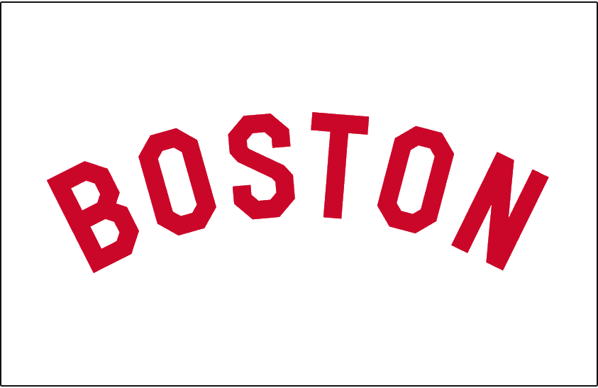 Boston Red Sox Logo Jersey Logo (1909-1911) - 'Boston' arched and written in a red sans-serifed font on white - worn on the Boston Red Sox home jersey from 1909 to 1911 SportsLogos.Net