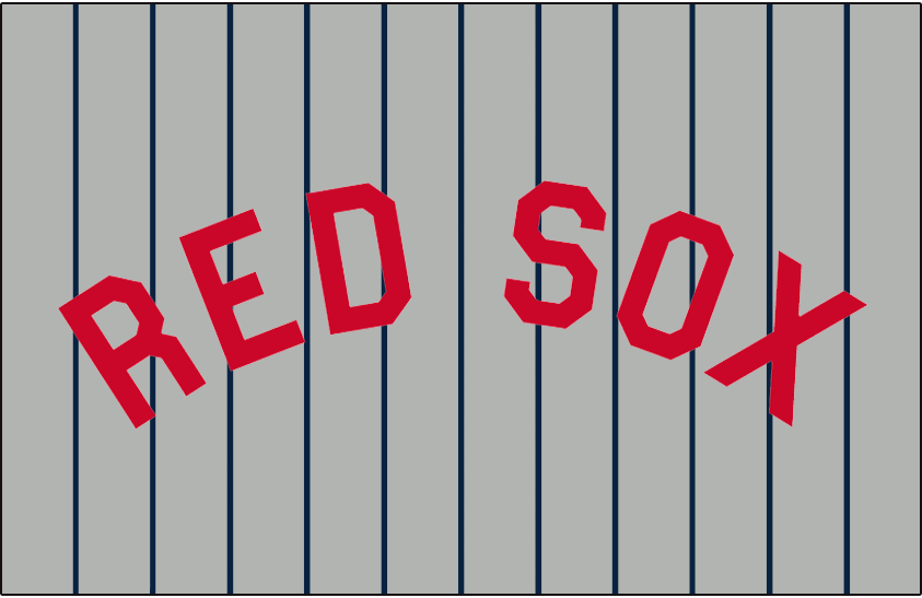 Boston Red Sox Logo Jersey Logo (1921-1929) - RED SOX in red on grey with blue pinstripes, worn on the Boston Red Sox road uniforms from 1916 to 1918, and again from 1921 through 1929 SportsLogos.Net