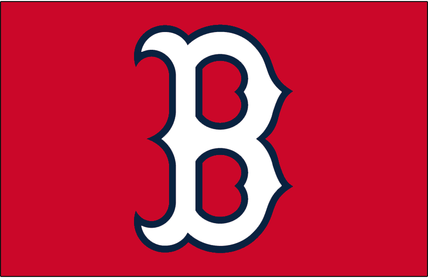 Boston Red Sox Logo Cap Logo (1997) - White B with blue outline on red, worn by the Boston Red Sox on their red home alternate caps for a handful of games in 1997 SportsLogos.Net