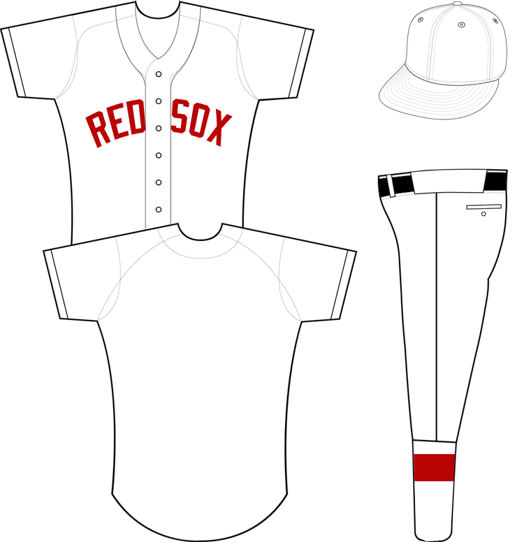 Boston Red Sox Uniform Special Event Uniform (2012) - 1912 Throwback Uniform, worn April 20th to celebrate 100th anniversary of Fenway Park.  No name or number worn on back of uniform SportsLogos.Net