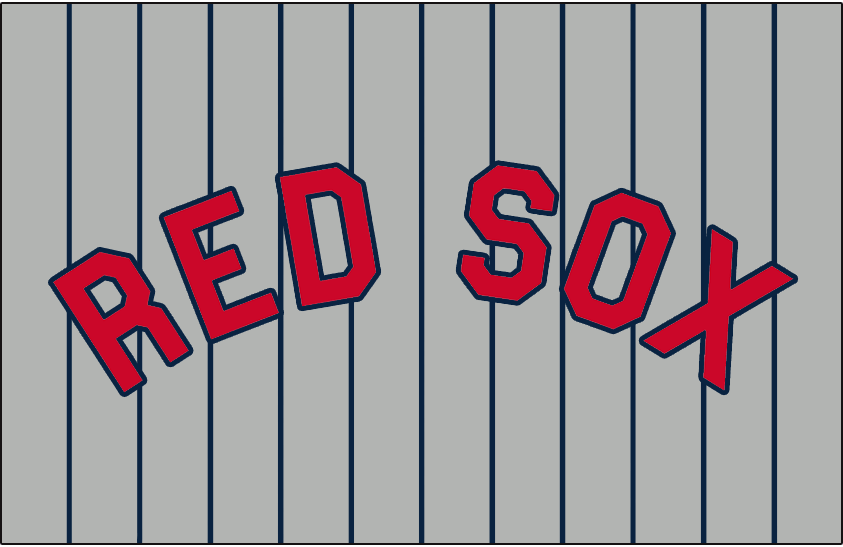 Boston Red Sox Logo Jersey Logo (1931) - RED SOX in red with a blue outline on grey with blue pinstripes, worn on the Boston Red Sox road uniforms during the 1931 season only SportsLogos.Net
