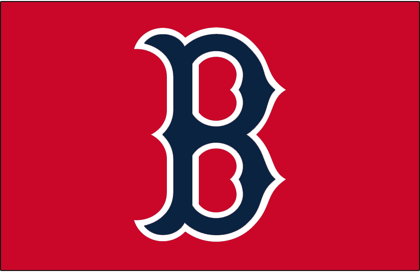 Boston Red Sox Logo Cap Logo (1974-1978) - Blue B with white outline on red, worn on the Boston Red Sox home and road caps from 1975 through 1978, worn on alternate home caps only in 1974 SportsLogos.Net