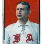 Boston Red Sox (1908) Cy Young wearing Boston Red Sox alternate home uniform during 1908 season.  The BA represents Boston Americans, which was the name of the team in the season prior