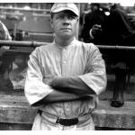 Boston Red Sox (1915) Babe Ruth wearing the Boston Red Sox logo-less, pinstriped home uniform of the Boston Red Sox in 1915