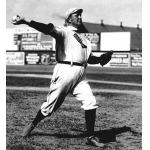 Boston Red Sox (1908) Cy Young wearing the Boston Red Sox road uniform with large red sock on the front during the 1908 season, the first year the club was known as the Boston Red Sox