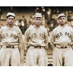Boston Red Sox (1912) Harry Hooper, Tris Speaker and Duffy Lewis -- The Million Dollar Outfield, wearing the Boston Red Sox pinstriped road alternate uniforms during the 1912 season
