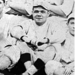 Boston Red Sox (1916) Babe Ruth wearing the Boston Red Sox home uniform for the annual team photo in the 1916 season