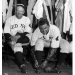 Boston Red Sox (1932) Wiley Moore and Bob Kline wearing the Boston Red Sox home uniforms in the locker room during the 1932 season