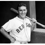Boston Red Sox (1937) A Boston Red Sox player poses in the dugout wearing the home uniform in 1937