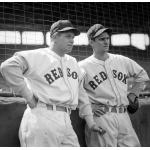 Boston Red Sox (1938) Jimmie Foxx and Bobby Doerr wearing the Boston Red Sox home uniforms during the 1938 season