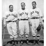 Boston Red Sox (1936) Jimmie Foxx, Heinie Manush, Roger Doc Cramer lineup wearing their Boston Red Sox home uniforms in 1936