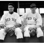 Boston Red Sox (1935) Wes and Rick Ferrell pose while wearing the Boston Red Sox home uniforms in the 1935 season