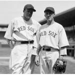Boston Red Sox (1935) Joe Cronin and Oscar Melillo pose while wearing the Boston Red Sox home uniforms in the 1935 season