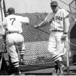 Boston Red Sox (1937) Jimmie Foxx poses during Boston Red Sox batting practice before a game in 1937