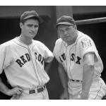 Boston Red Sox (1939) Boston Red Sox players in home uniforms with Baseball Centennial patch on sleeve during 1939 season