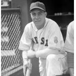 Boston Red Sox (1942) Johnny Peacock wearing Boston Red Sox home uniform with World War II Health Patch on sleeve during 1942 season