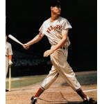 Boston Red Sox (1939) Ted Williams takes a swing while wearing the Boston Red Sox home uniform with Baseball Centennial patch in 1939