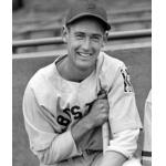 Boston Red Sox (1939) Ted Williams poses while wearing the Boston Red Sox road uniform with Baseball Centennial Patch during the 1939 season