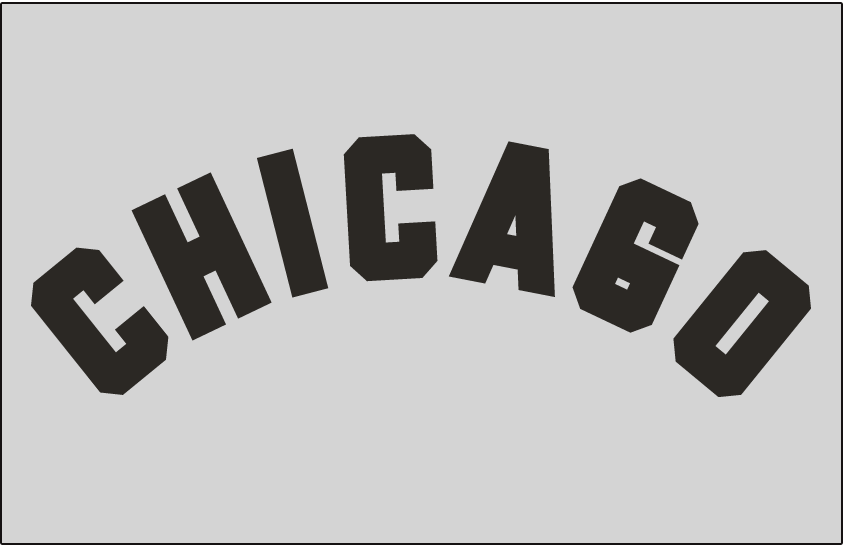 Chicago White Sox Logo Jersey Logo (1950-1951) - CHICAGO arched in black on grey, worn on White Sox road jersey in 1950 and 1951 SportsLogos.Net