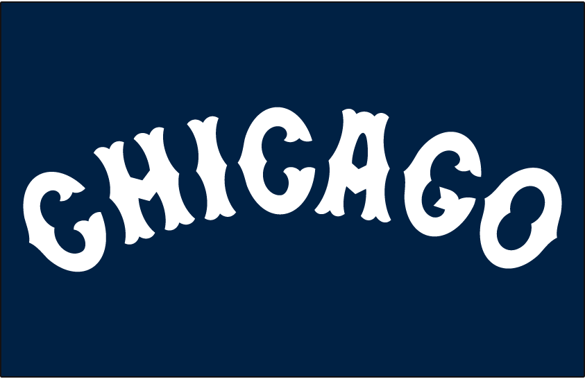 Chicago White Sox Logo Jersey Logo (1904) - CHICAGO in a white arched Tuscan style font on navy blue, worn on White Sox road jersey in 1904 SportsLogos.Net