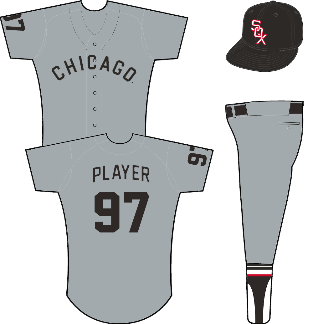 Chicago White Sox Uniform Road Uniform (1954-1963) - CHICAGO arched across the front of a grey jersey in black, player number on both sleeve and back.  SportsLogos.Net