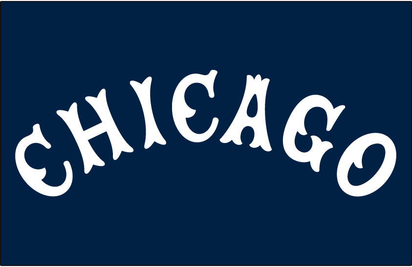 Chicago White Sox Logo Jersey Logo (1916) - CHICAGO in a white arched Tuscan style font on navy blue, worn on White Sox road jersey in 1916 SportsLogos.Net