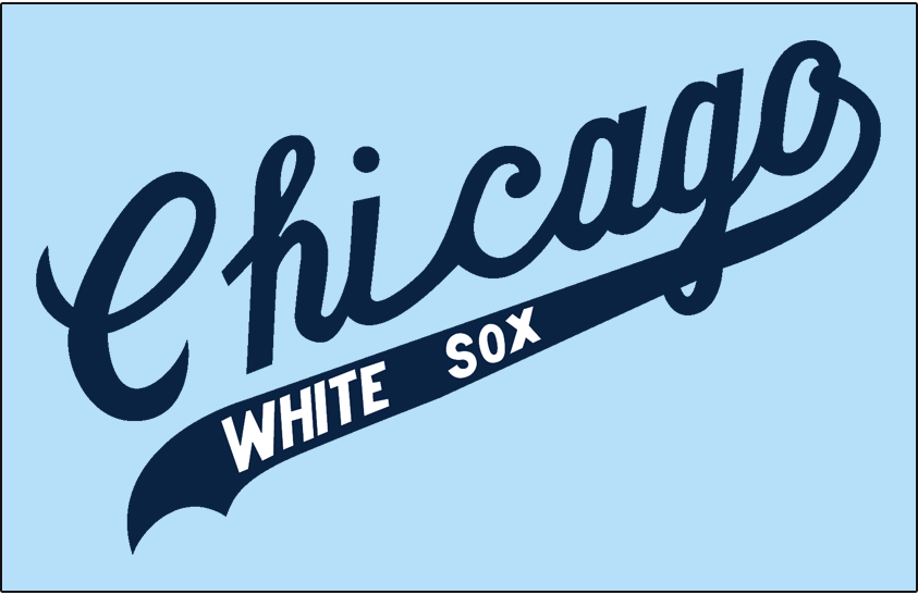 Chicago White Sox Logo Jersey Logo (1967-1968) - Chicago scripted in blue with White Sox in white on the underscore worn on a powder blue road jersey in 1967 and 1968 SportsLogos.Net