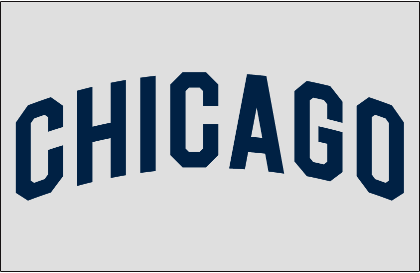 Chicago White Sox Logo Jersey Logo (1929) - CHICAGO in blue arched on grey, worn on White Sox road jersey in 1929 SportsLogos.Net