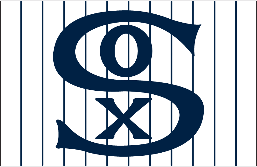 Chicago White Sox Logo Jersey Logo (1919-1920) - SOX in blue on white with blue pinstripes, worn on White Sox home jersey in 1919 and 1920 SportsLogos.Net