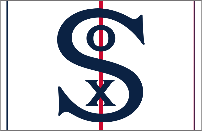 Chicago White Sox Logo Cap Logo (2001) - S in blue with O and X inside on a white cap with blue and red vertical stripes, worn as a one-season alternate in 2001 to commemorate the 100th anniversary of White Sox franchise SportsLogos.Net