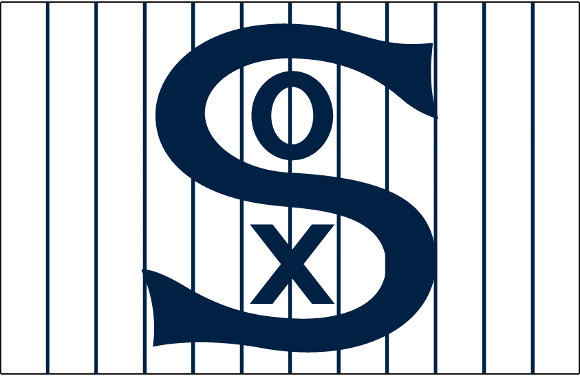 Chicago White Sox Logo Jersey Logo (1917) - SOX in blue on a white jersey with blue pinstripes, worn on White Sox home jersey in 1917 SportsLogos.Net