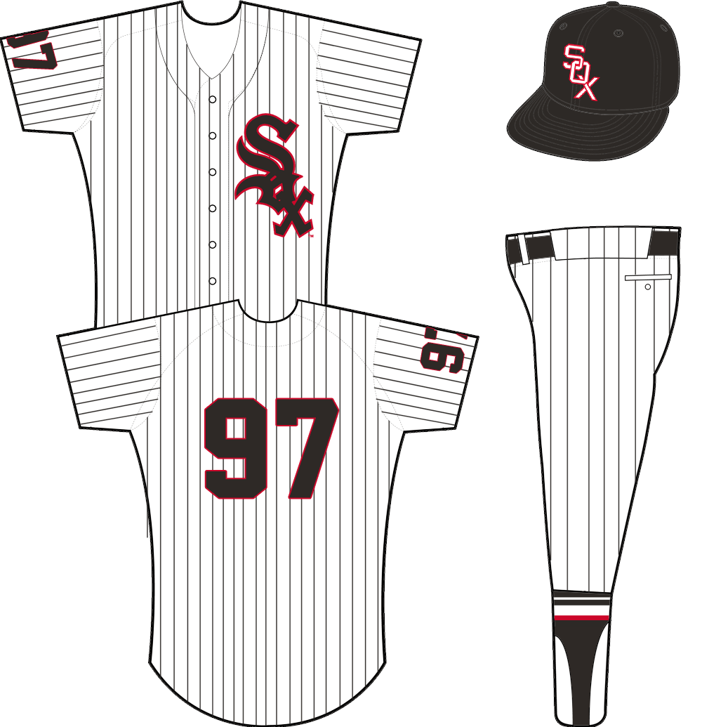 Chicago White Sox Uniform Home Uniform (1951-1963) - White jersey with black pinstripes, SOX logo on left chest outlined in red. Player number on sleeve and back in black with red outline. SportsLogos.Net