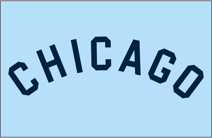 Chicago White Sox Logo Jersey Logo (1964-1966) - CHICAGO arched in blue on a powder blue jersey, worn on White Sox road jersey from 1964 to 1966 SportsLogos.Net