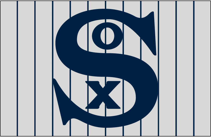 Chicago White Sox Logo Jersey Logo (1916) - SOX in blue on a grey jersey with blue pinstripes, worn on White Sox road alternate jersey in 1916 SportsLogos.Net