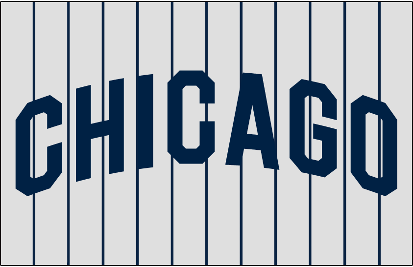 Chicago White Sox Logo Jersey Logo (1927-1928) - CHICAGO in blue arched on grey with blue pinstripes, worn on White Sox road jersey in 1927 and 1928 SportsLogos.Net