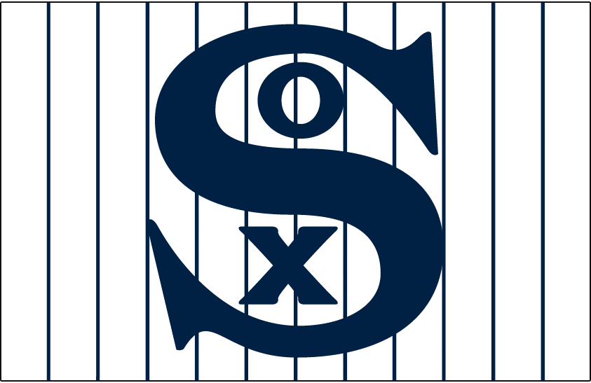 Chicago White Sox Logo Jersey Logo (1912-1916) - SOX in blue on a white jersey with blue pinstripes, worn on White Sox home jersey from 1912 until 1916 SportsLogos.Net