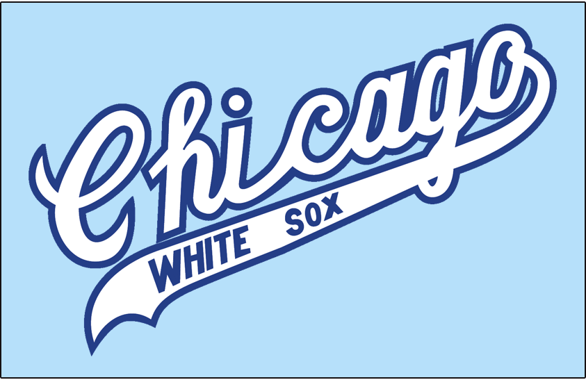 Chicago White Sox Logo Jersey Logo (1969-1970) - Chicago scripted in white outlined in blue with White Sox in white on the underscore worn on a powder blue road jersey in 1969 and 1970 SportsLogos.Net