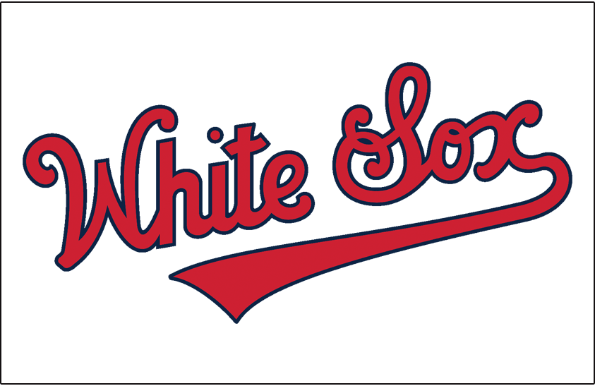 Chicago White Sox Logo Jersey Logo (1942) - White Sox scripted in red and blue worn on Chicago White Sox home jersey in 1942 SportsLogos.Net